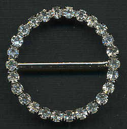 "1.18"" LEAD FREE Round Slider Buckel-Crystal Glass Stones/Silver Slider"