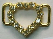"1"" Open Heart Slider Buckel-Crystal Glass Stones/Gold Slider"