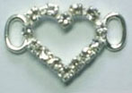 "1"" Open Heart Slider Buckel-Crystal Glass Stones/Silver Slider"