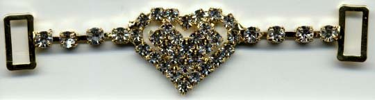 "2.75"" Rhinestone Heart Strap Slider-Crystal Glass Stones/Silver Slider"