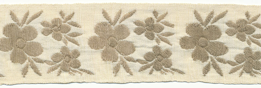 "1+5/8"" Cotton Floral Jacquard-Khaki With Natural Background"