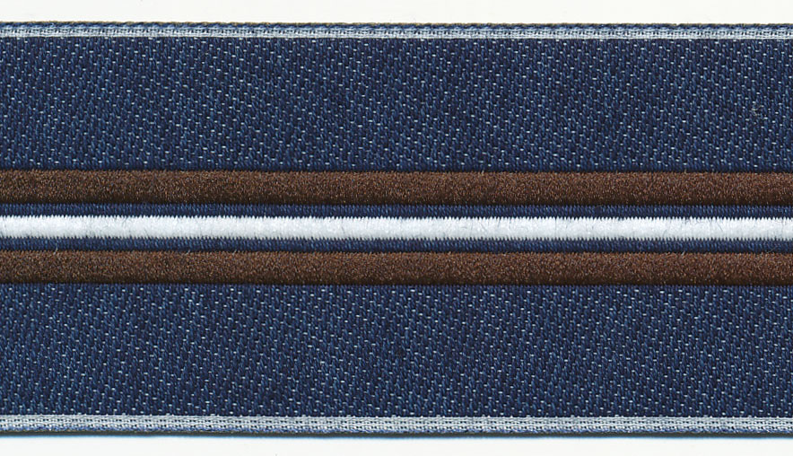 40MM Denim Center Line Stripe Jacquard-Denim/Brown/White