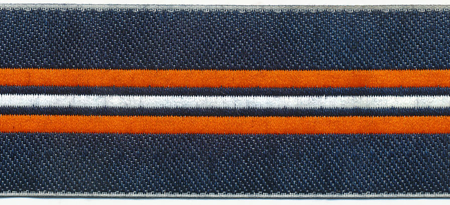 "1.25"" Washed Denim Stripe Jacquard-Denim/Orange/White"