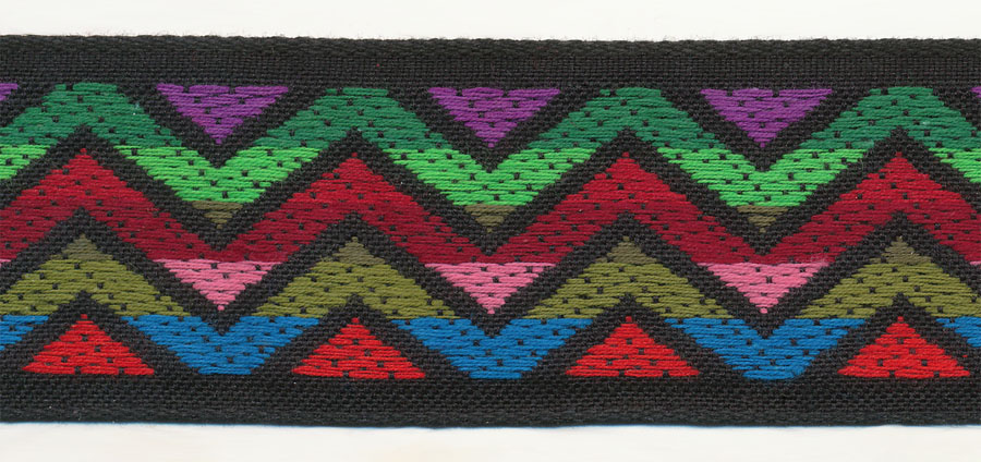 "1.25"" Vintage Zigzag Cotton Jacquard Ribbon-Multi Color With Black Background"