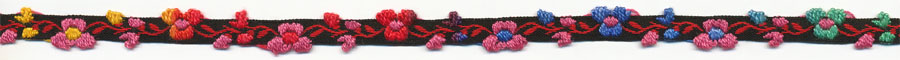 "5/16"" Floral Cotton Jacquard-Multi Color With Black Background"
