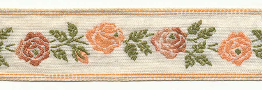 "1+1/8"" Rose Vine Pattern With Double Stitch Border Jacquard-White/Peach/Olive/Cinnamon/Taupe"