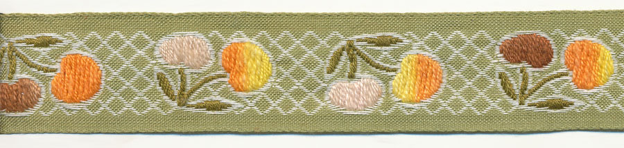 "1"" Vintage Cherry Pattern Jacquard Ribbon-Multi Color With Lemon Green Background"