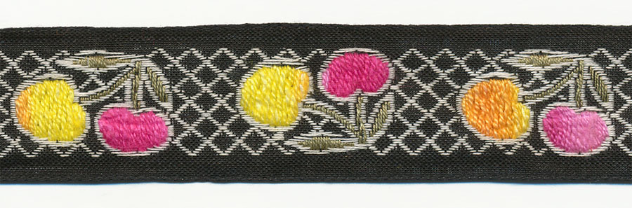 "1"" Vintage Cherry Pattern Jacquard Ribbon-Multi Color With Black Background"