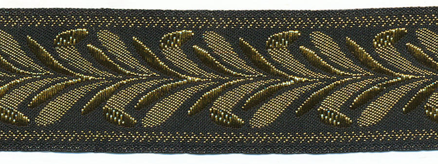 "1"" Metallic Leaves Jacquard Ribbon-Black/Gold"