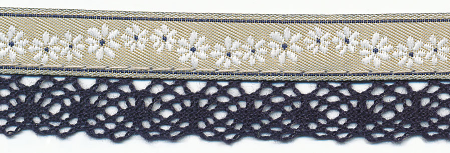 20MM Rope Flower Cluny Jacquard Ribbon-Khaki/Navy
