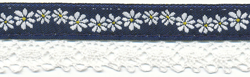 20MM Rope Flower Cluny Jacquard Ribbon-Navy/White