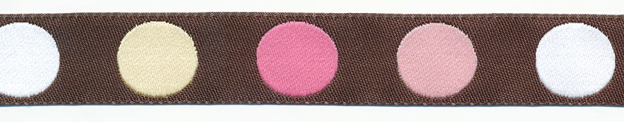 17MM Polka Dot Jacquard Ribbon-Brown/Pink/White/Ivory/Hot Pink