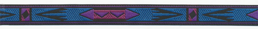 12MM Apache Pattern Jacquard Ribbon-Black/Purple/Magenta/Blue
