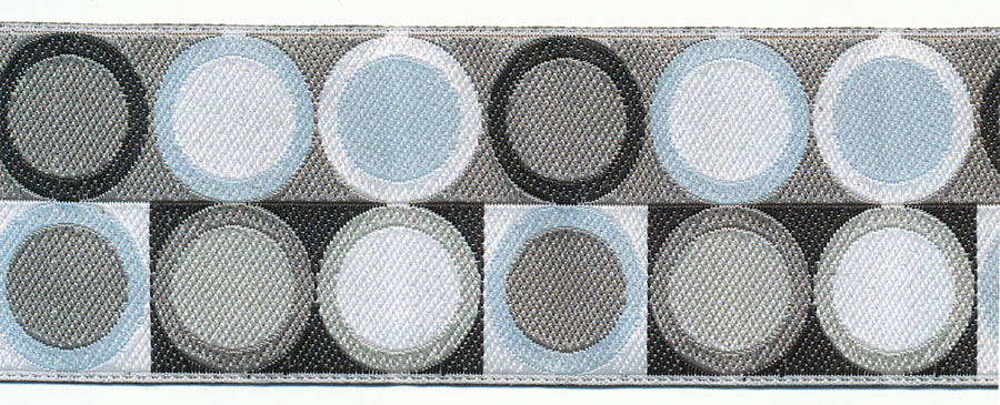 38MM Mod Circle and Square Pattern Jacquard Ribbon-Black/White/Aqua/Grey