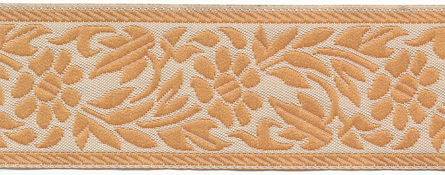 "1.25"" Floral Poly Jacquard Ribbon-Cream/Khaki"