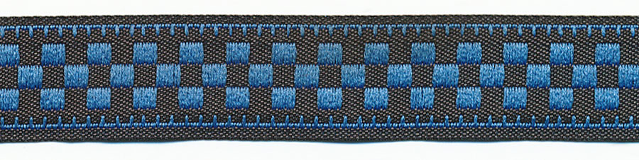 "5/8"" Knights Board Jacquard Ribbon- Blue Checkerboard/Black Background"