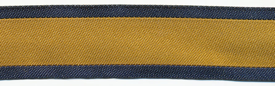 20MM Two-Tone Polyester Jacquard-Navy Denim/Mustard Center