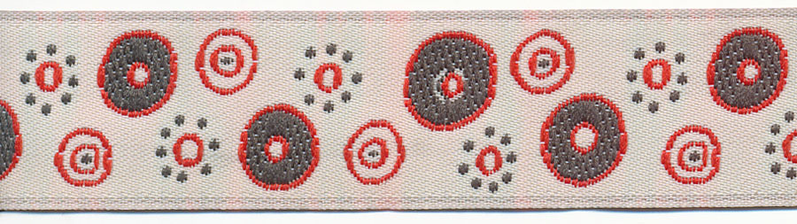 20MM Mod Linocut Circle Pattern Jacquard Ribbon-Ivory/Charcoal Grey/Red