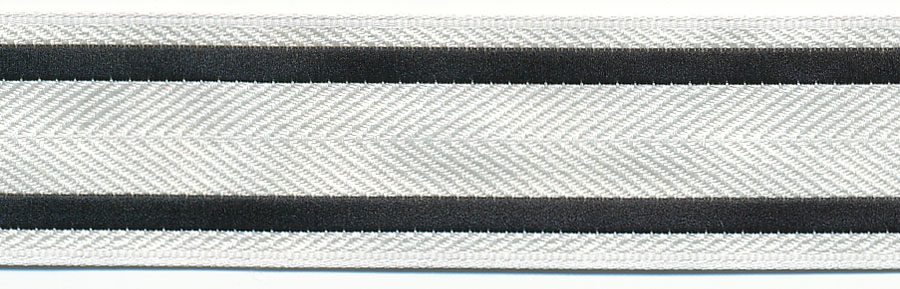20MM Tuxedo Stripe Jacquard Ribbon-White/Black Stripes