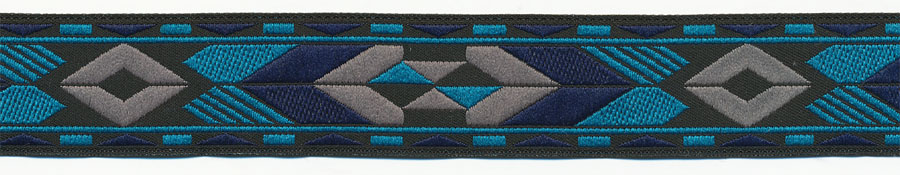 "1"" Native Tribal Pattern Jacquard Ribbon-Black/Turquoise/Gray/Navy"