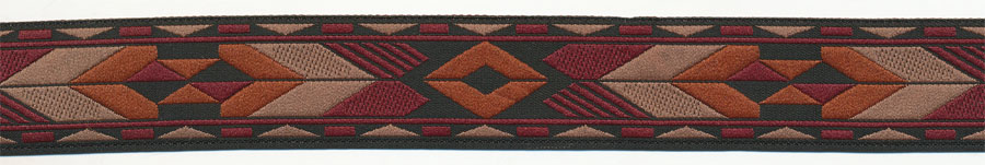 "1"" Native Tribal Pattern Jacquard Ribbon-Black/Rust/Wine/Ecru"