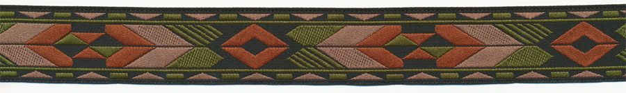 "1"" Native Tribal Pattern Jacquard Ribbon-Black/Olive/Rust/Ecru"