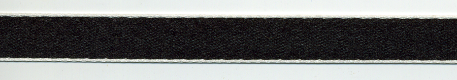 "3/8"" Double Face Poly Satin Ribbon-Black With Thin White Edges"