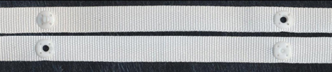 "1/4"" X X 3.75"" Cut Grosgrain Tabs With Plastic Snaps-White (Snaps 2 3/8"" Spaced)"