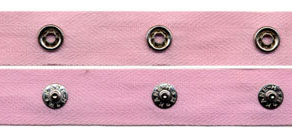 "1.5"" Spaced 15L Snap Tape on 3/4"" Pink Twill Tape"