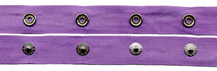 "1.5"" Spaced 15L Snap Tape on 3/4"" Lilac Twill Tape"