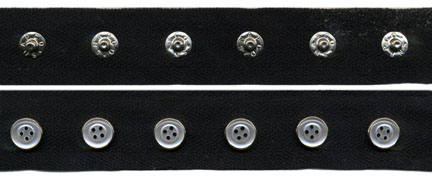"1"" Spaced 18L Snap Tape, 4-Hole Button Cap on 3/4"" Black Twill Tape"