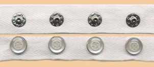 "1"" Spaced 18L Snaps, 4-Hole Button Cap, 1"" White Twill Tape"