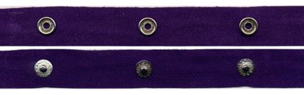 "2"" Spaced 15L Snap Tape on 3/4"" Purple Twill Tape"