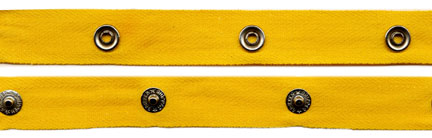 "2"" Spaced 15L Snaps on 3/4"" Yellow Gold Twill Tape"