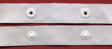 "1.5"" Spaced 12L Plastic Snap Tape on 3/4"" White Poly Tape"