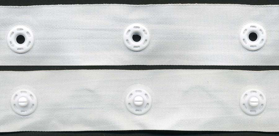 "2"" Spaced Round Plastic 18L Snaps on 1"" Wide Poly Tape-White"