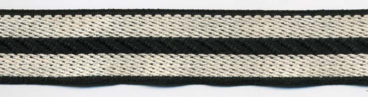 "1"" Poly/Cotton Rail Road Stripe-Black/Natural<br>$0.03 per yard, see Special Pricing Tab"