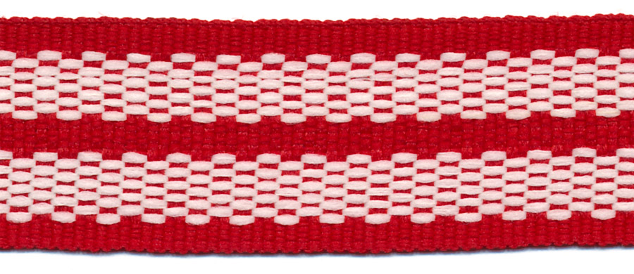 "1"" Poly/Cotton Rail Road Stripe-Ruby/Natural<br>$0.03 per yard, see Special Pricing Tab"