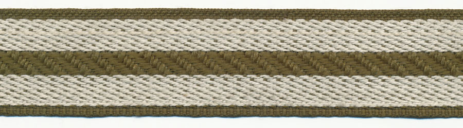 "1"" Poly/Cotton Rail Road Stripe-Olive/Natural<br>$0.03 per yard, see Special Pricing Tab"