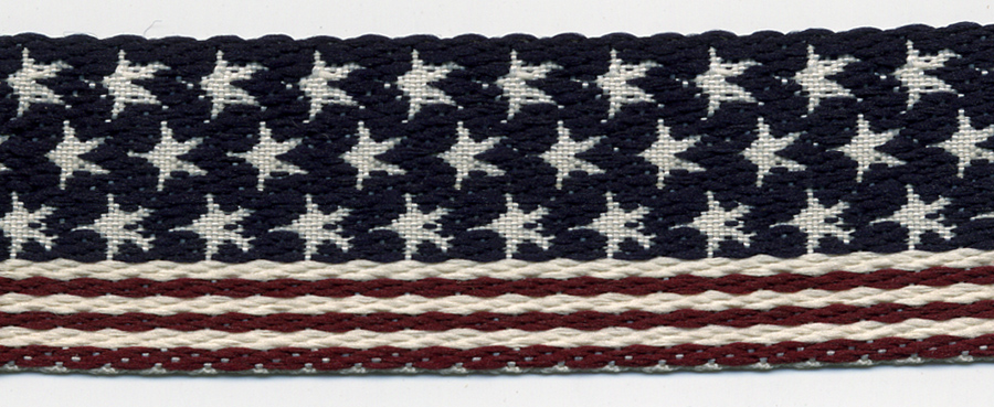 "1"" Wide Light Webbing Band-American Flag Pattern"