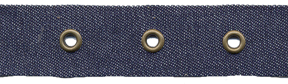 "1"" Width Tape With 1"" Spaced Eyelets<br>Denim Tape, Antique Brass Eyelets"