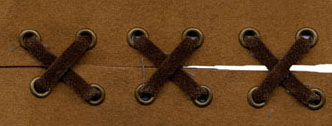 "3/4"" Suede Tape (x 2) With 1"" Spaced Eyelets<br>Camel Tape, Brown Laces, Old Gold Eyelets"