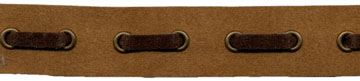 "3/4"" Suede Tape With 3/4"" Spaced Eyelets<br>Camel Tape, Brown Laces, Old Gold Eyelets"
