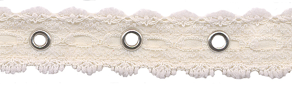 "1.25"" Width Galloon Lace with 1"" Spaced Eyelets<br>White Lace, Nickel Eyelets"