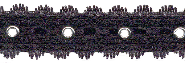 "1.25"" Width Galloon Lace with 1"" Spaced Eyelets<br>Black Lace, Nickel Eyelets"