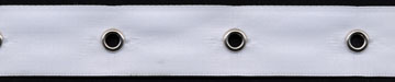 "5/8"" Width Satin Ribbon With 1.5"" Spaced Eyelets<br>White Satin Ribbon, Nickel Eyelets"