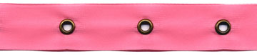 "5/8"" Width Satin Ribbon With 1.5"" Spaced Eyelets<br>Rose Satin Ribbon, Antique Gold Eyelets"