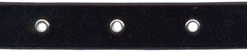 "7/8"" Width Velvet Ribbon With 1.5"" Spaced Eyelets<br>Black Velvet Ribbon, Nickel Eyelets"