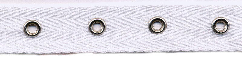 "3/4"" Width Twill Tape With 1"" Spaced Eyelets<br>White Twill Tape, Nickel Eyelets"