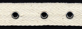 "3/4"" Width Twill Tape With 1"" Spaced Eyelets<br>Natural Twill Tape, Nickel Eyelets"